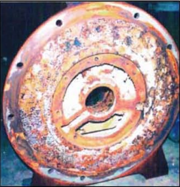 corroded vacuum pump head